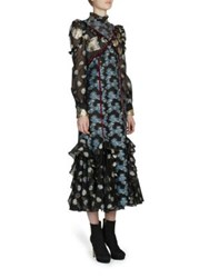 Erdem Sadie Dress Teal Blue Gold