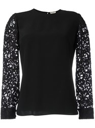 Saint Laurent Lace Sleeve Blouse Black