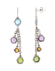 Lord And Taylor Sterling Silver Peridot Amethyst Swiss Blue Topaz And Citrine Drop Earrings Multi
