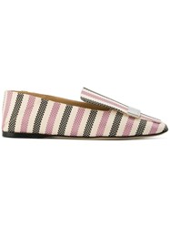 Sergio Rossi Sr1 Striped Slippers Cotton Leather Nude Neutrals
