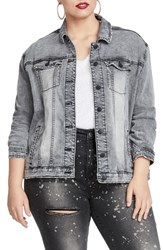 Rachel Roy Plus Size Oversize Denim Jacket Grey Leyton Wash