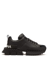 Dolce And Gabbana Super King Exaggerated Sole Leather Trainers Black