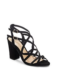 Schutz Open Toe Leather Cage Sandals Black