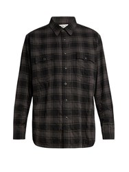 Saint Laurent Distressed Checked Cotton Blend Flannel Shirt Grey Multi