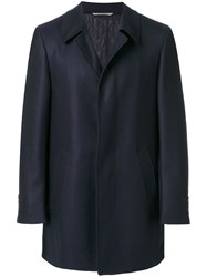 Canali Single Breasted Coat Cupro Wool Blue