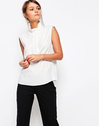Closet High Neck Blouse With Folded Neck Detail Cream