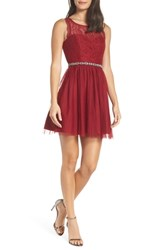 Sequin Hearts Glitter Lace Cutout Back Party Dress Garnet