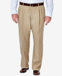Haggar Cool 18 Microfiber Big And Tall Classic Fit Pleated Dress Pants Khaki