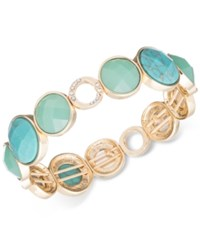 Anne Klein Gold Tone Stone And Crystal Stretch Bracelet Turquoise Gold