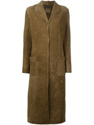 Fendi Vintage Studded Suede Long Coat Brown