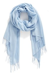 Nordstrom Women's Tissue Weight Wool And Cashmere Scarf Blue Cashmere