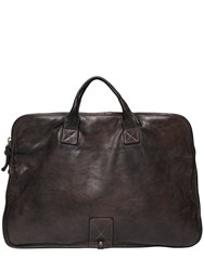 Campomaggi Vintage Effect Leather Briefcase Grey Brown