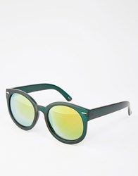 Monki Round Sunglasses With Mirrored Lenses Dark Green