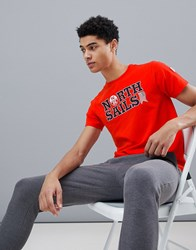 North Sails Slim Fit Text Logo T Shirt In Red