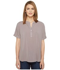 Allen Allen Tab Collar High Low Henley Top Earth Women's Clothing Brown
