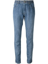Chanel Vintage Zip Detail Slim Fit Jeans Blue