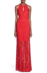 Junior Women's Morgan And Co. Piped Keyhole Bodice Lace Halter Dress