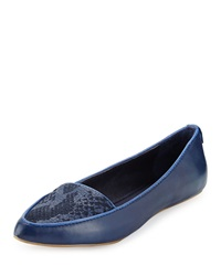 Elliott Lucca Bridget Snake Embossed Leather Flat River