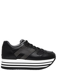 Hogan 70Mm Maxi 222 Studded Leather Sneakers Black