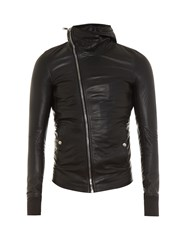 Rick Owens Asymmetric Zip Hooded Leather Jacket Black
