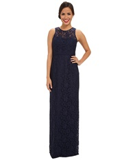 Donna Morgan Illusion Neck Lace Long Gown Indigo Women's Dress Blue