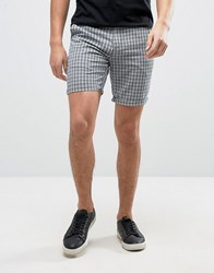 Solid Checked Shorts Blue