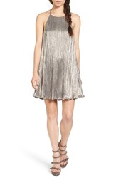 Lush Women's Metallic Plisse Shift Dress