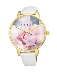 Ted Baker Goldtone Stainless Steel Floral Analog Watch White Gold