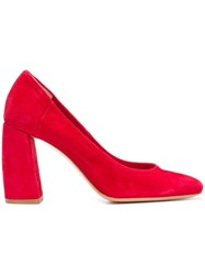 Anna F. Chunky Heel Pumps Red