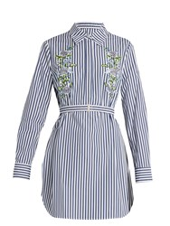 Adam By Adam Lippes Floral Embroidered Pinstriped Shirtdress Blue Stripe