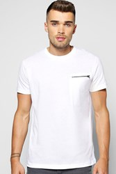 Boohoo Neck T Shirt With Zip Pocket White