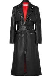 Alexander Wang Belted Leather Trench Coat Black