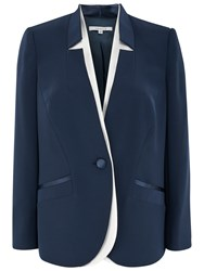 Chesca Notch Neck Satin Back Jacket Navy