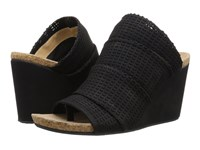 Adrienne Vittadini Trieste Black Woven Sueded Women's Wedge Shoes