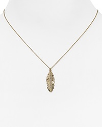Melinda Maria Nina Feather Pendant Neckalce 16 Gold