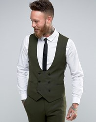 Noose And Monkey Super Skinny Db Waistcoat With Stretch Khaki Green