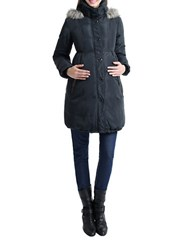 Kimi Kai Maternity Faux Fur Hooded Cinch Waist Down Parka Steel Grey