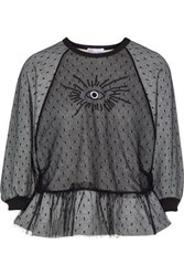 Red Valentino Layered Embroidered Point D'esprit And French Cotton Blend Terry Sweatshirt Gray