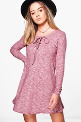 Boohoo Amerie Lace Up Knitted Swing Dress Berry