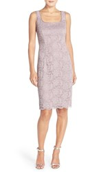 Women's Alex Evenings Lace Sheath Dress And Bolero Pewter Frost