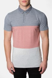 7 Diamonds 'Triple Threat' Trim Fit Colorblock Polo Red