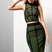River Island Womens Khaki Bandage Crop Top