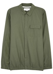 Norse Projects Jens Army Green Cotton Blend Shirt Olive