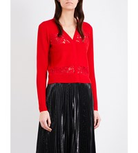 Diane Von Furstenberg Adelyn Floral Lace And Merino Wool Blend Cardigan Scandal Red