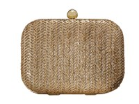 Jessica Mcclintock Roxie Metallic Straw Clutch Gold Clutch Handbags