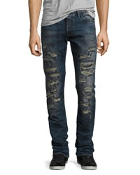 Prps Demon Slashed 3D Crinkle Denim Jeans Indigo