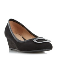 Linea Anex Brooch Detail Wedge Court Shoes Black