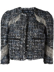 Marco Bologna Fringed Detail Cropped Jacket Black