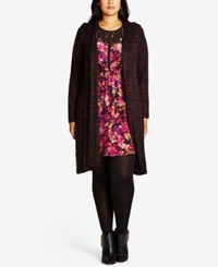 City Chic Trendy Plus Size Hooded Duster Cardigan Wine