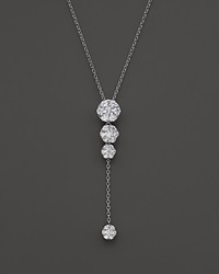 Bloomingdale's Diamond Cluster Drop Y Necklace In 14K White Gold 1.0 Ct. T.W.